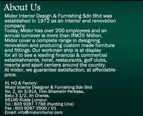 Directory Enquiries Address Finder Midor Interior Designer Furnishing Sdn Bhd Kuala Lumpur