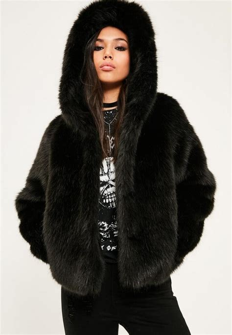Faux Fur Hooded Coat black hooded faux fur coat missguided