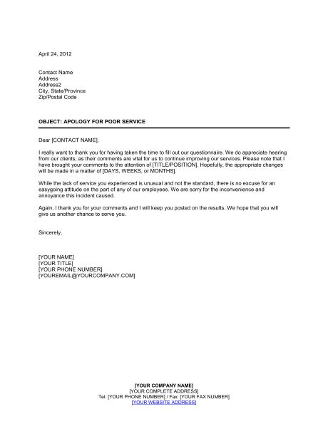 Business Apology Letter To Customer For Bad Service Apology For Poor Service Rating On Customer Questionnaire