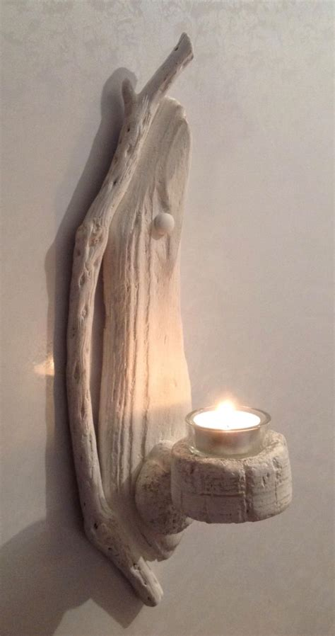 Driftwood Wall Sconce Driftwood Candle Holder Sconce Sculpture Nautical