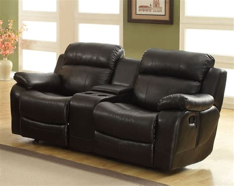 Black Leather Loveseat Recliner by Homelegance Marille Seat Glider Recliner With Center