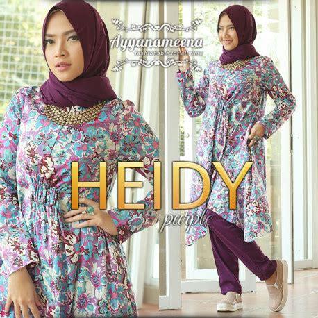 Tunik Heidy heidy purple baju muslim gamis modern