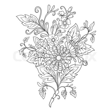 coloring pages of real roses outline vintage flowers bouquet or pattern in rococo