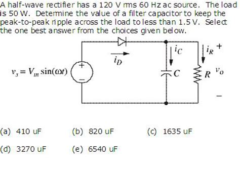 rectifier filter capacitor calculator half wave rectifier with filter capacitor