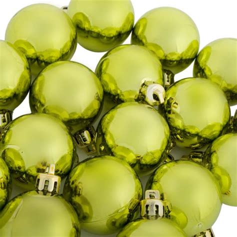 lime green baubles shiny shatterproof pack of 18 x 40mm