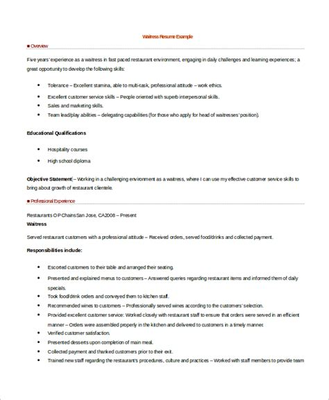 sle waitress resume 6 exles in word pdf