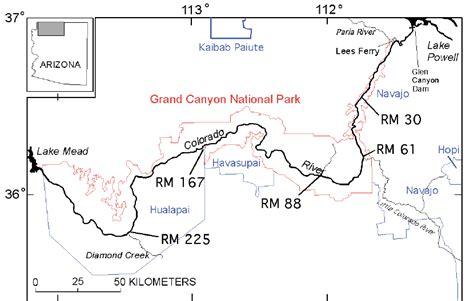 colorado river grand map location map showing the colorado river corridor through