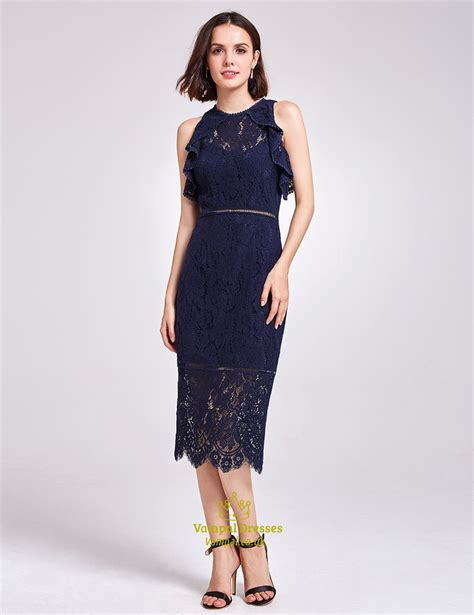 Sleeveless Lace Cocktail Dress navy blue sleeveless tea length sheath lace cocktail dress