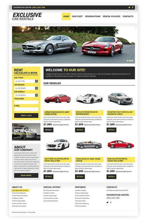 Car Rental Responsive Website Template Templates Buy Website Templates Web Templates Online Buy Website Templates