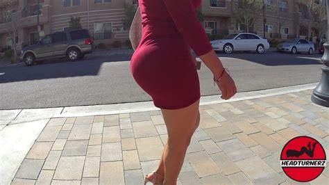 Big Bubble Butt Model Walking In Tight Dress Headturnerz