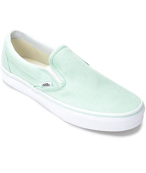 light blue slip on vans vans slip on bay white canvas shoes zumiez