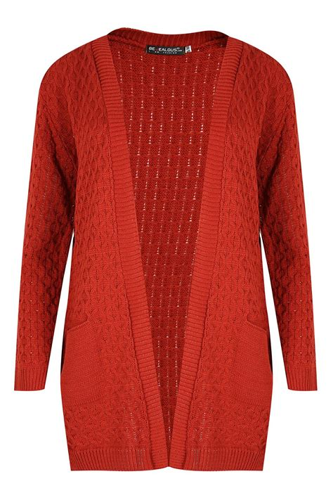 chunky cable knit cardigan womens chunky waffle open front pocket top cable
