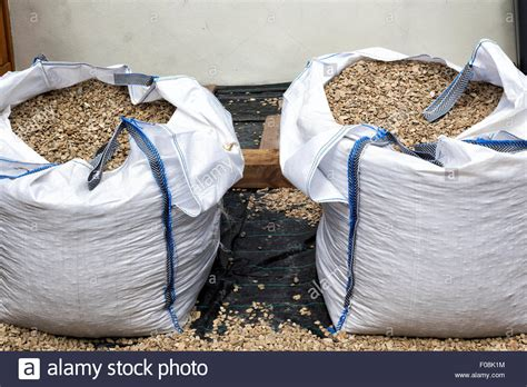 Large 1 Ton Bags Of Gravel Cotswold Buff Stock Photo