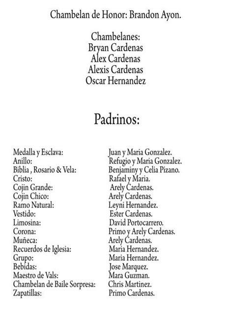 lista de padrinos para una boda catolica ejemplo de formato de lista de padrinos de 15 15 ideas
