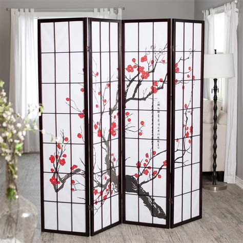 room dividers cherry blossom rosewood 4 panel room divider room
