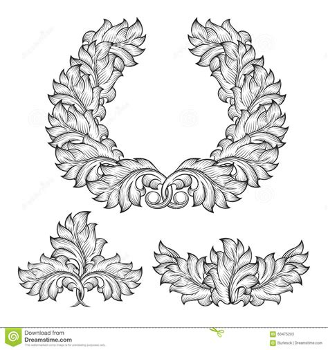 decorative baroque design elements vector vintage baroque floral leaf scroll ornament stock vector