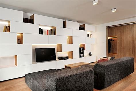 design interior geometris minimalis apartemen modern