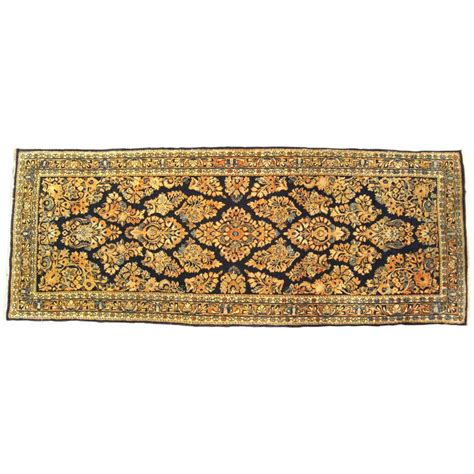 Small Runner Rug Antique Sarouk Rug In Small Runner Size With Navy Blue Field For Sale At 1stdibs