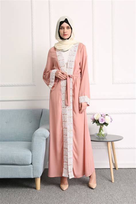 Jilbab Square Lace Katun Erow dubai style lace trim open abaya jilbab muslim islamic maxi dress ebay