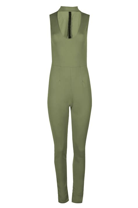 womens scuba back zip high polo turtle neck plunge jumpsuit all in one