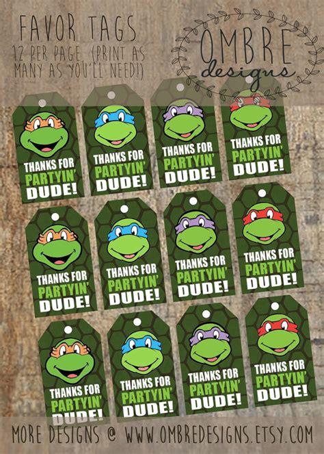 ninja turtles printable name tags ninja turtles favor tags instant download favour tags