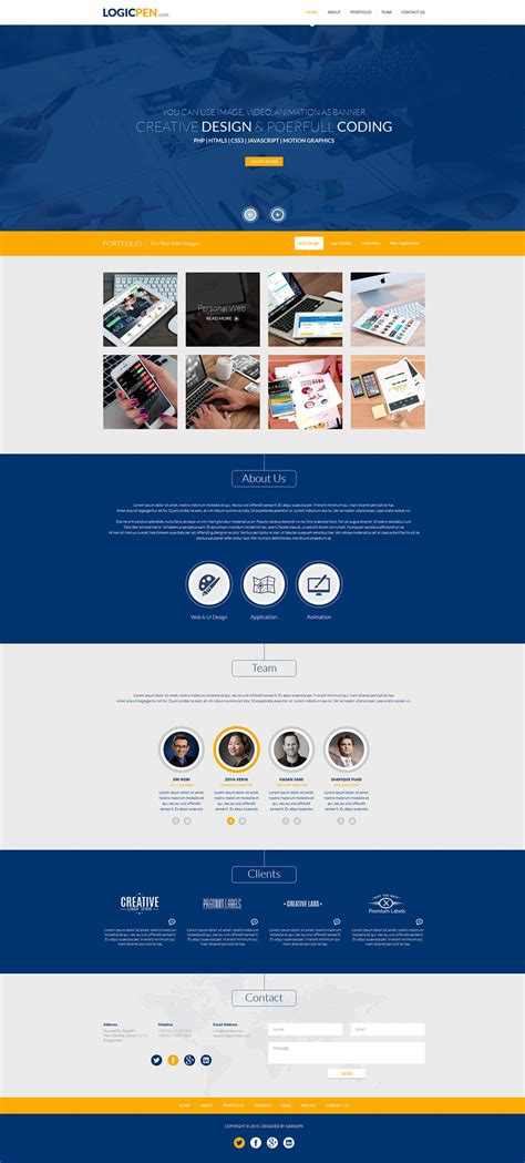 Free Portfolio Website Templates Psd 187 Css Author Web Developer Portfolio Templates