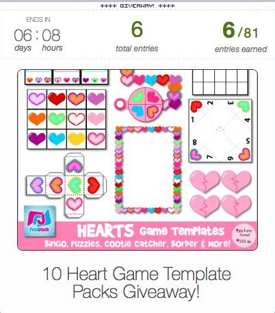 heart game templates giveaway perfect for creating