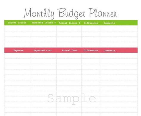 printable budget planner ireland monthly budget planner pdf printable by