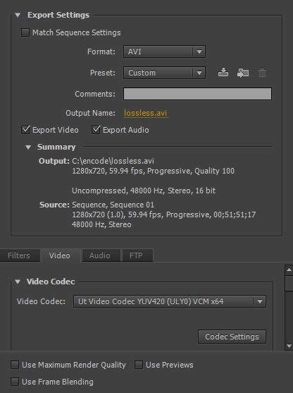 adobe premiere cs6 render settings encode premierepro ffmpeg