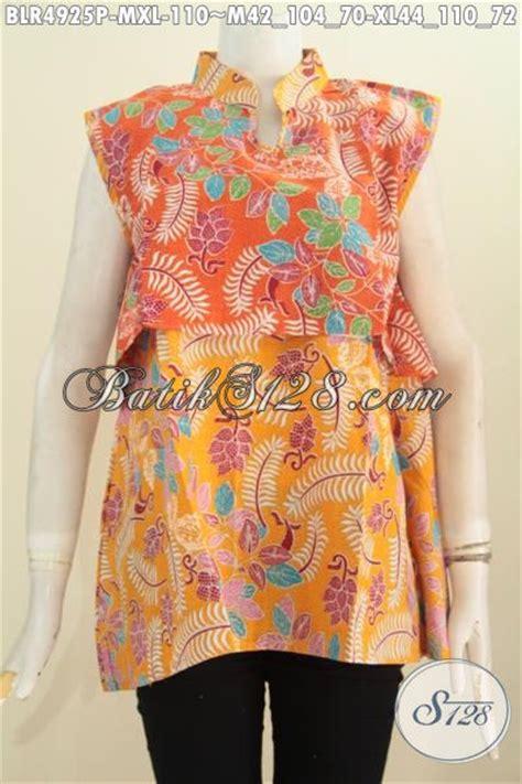 desain baju batik yang modis vest balero batik desain tanpa lengan kombinasi dua warna