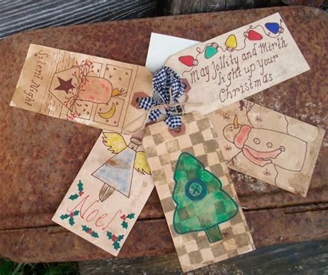 primitive christmas gift tags stained and grubby use