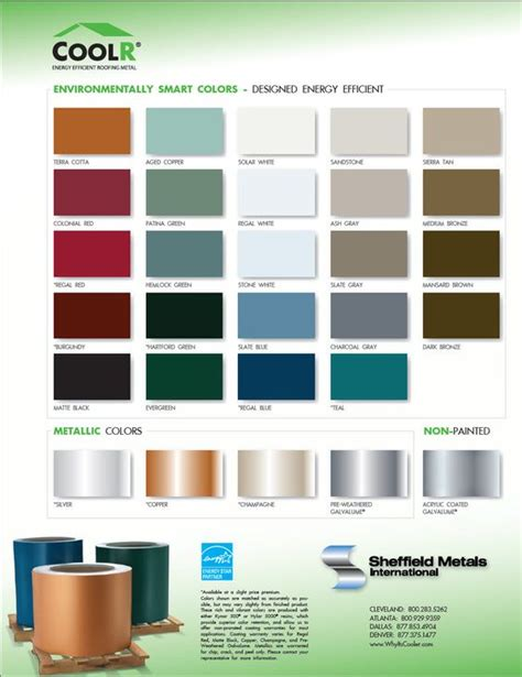 color of metals metal roofing color chart for the home