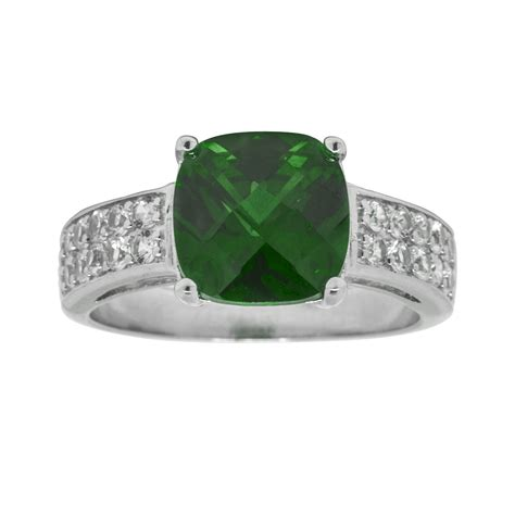 simulated emerald cushion ring sterling silver jewelry