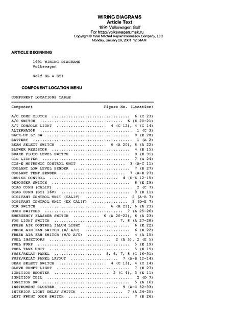 VW GOLF GL GTI 1991 WIRING DIAGRAMS Service Manual