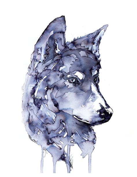 wolf gray paint items similar to gray wolf painting original print ink wolf animal painting