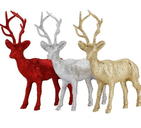 large glitter standing stag ornament christmas table