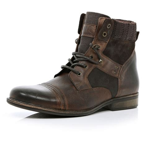 river island boots for river island brown contrast panel boots in