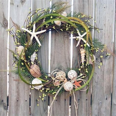 Nautical Themed House Decor - coastal diy seashell christmas wreath