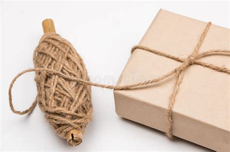 Paper String - rustic eco package stock photo image 45266546