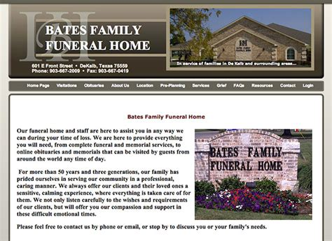 Bates Funeral Home by Funeral Home Web Site Sle Designs And Layouts