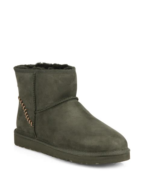ugg classic leather boots in green for burnt