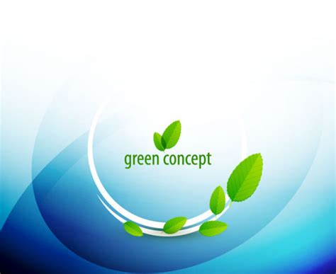 Green Concept Eco Elements Backgorund Vector 04 Over Green It Concept Ppt