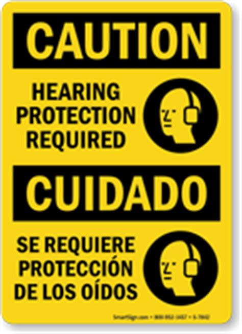Bilingual Hearing Protection Required Osha Caution Sign Sku S 7842 Mysafetysign Com Osha Hearing Conservation Program Template
