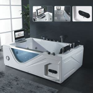 bathtub with tv china indoor 2 people massage spa double massage bathtub