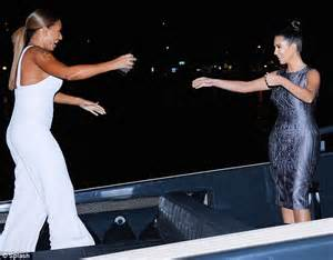 Kim kardashian meets up with mel b for boat party in australia daily