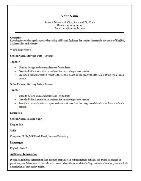 Basic Simple Resume Sle Simple Resume Sle Format 28 Images Sle Simple Resume Format Best Resume Gallery How To Make