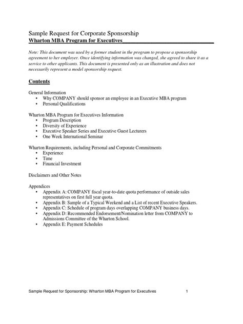 Corporate Sponsorship Letter For Mba by Sponsorship Request Traditional Docshare Tips