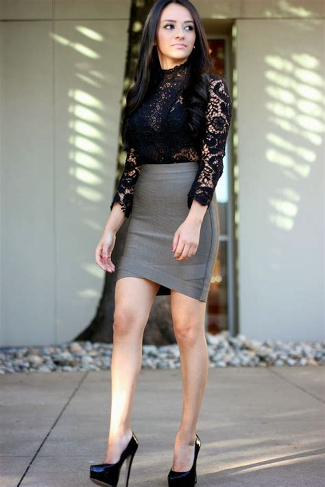 gray pencil skirt black satin top with lace overlay sheer