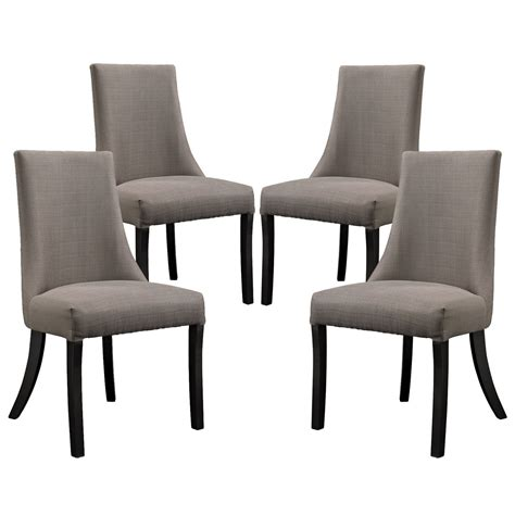 Upholstered Dining Chairs Set Of 4 Set Of 4 Reverie Upholstered Dining Side Chair With Wood Legs Gray