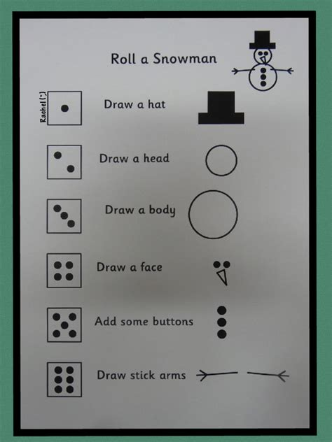 printable snowman dice game more christmas printables stimulating learning